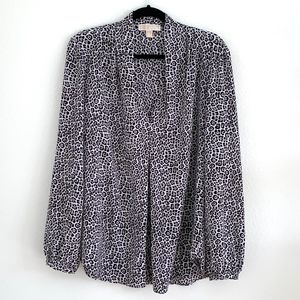Black and White Leopard Print Blouse